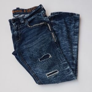 Rock Revival Blue Distressed Straight Jeans- Sz 33